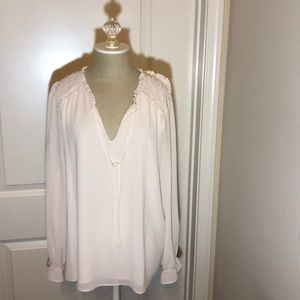 Rose and olive cream blouse